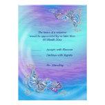 Boda azul púrpura del compromiso del cumpleaños de invitación