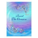 Boda azul púrpura del compromiso del cumpleaños invitación personalizada