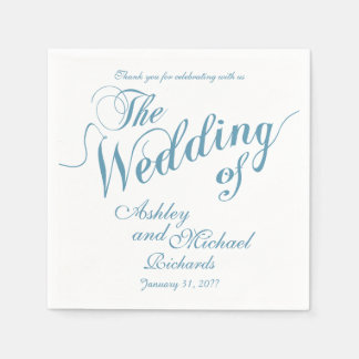 boda azul y blanco en colores pastel servilletas desechables
