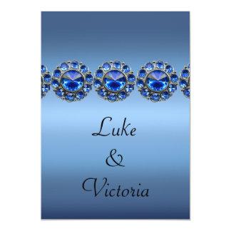 Boda Bejeweled azul helado Invitación 12,7 X 17,8 Cm