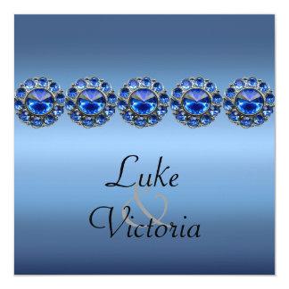 Boda Bejeweled azul helado Invitación 13,3 Cm X 13,3cm