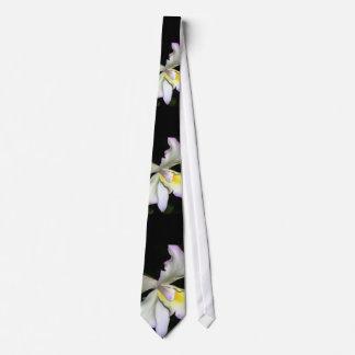 Boda blanco clásico de la orquídea corbatas personalizadas