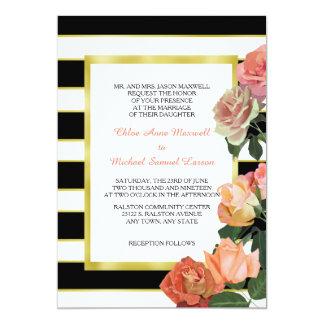 Boda blanco de la raya del oro negro color de rosa invitación 12,7 x 17,8 cm