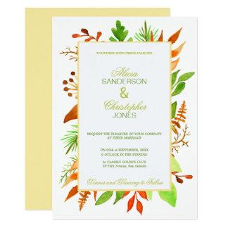 Boda blanco de marfil de las hojas y de las bayas invitación 12,7 x 17,8 cm
