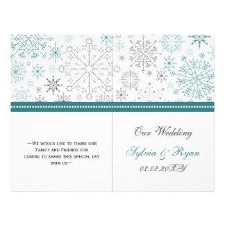 Boda blanco del invierno de los copos de nieve del folleto 21,6 x 28 cm