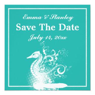 Boda blanco del verano del verde azul del seahorse invitación 13,3 cm x 13,3cm