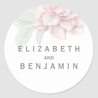 Boda blanco elegante de la flor rosada suave pegatina redonda