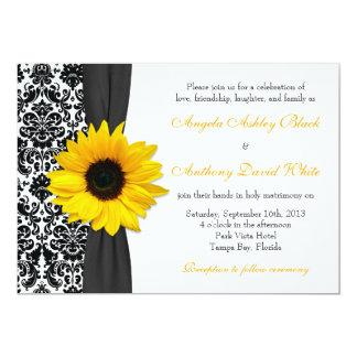 Boda blanco negro amarillo del damasco del girasol invitación 12,7 x 17,8 cm