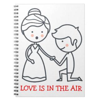 Boda blanco negro de la novia y del novio del cuaderno