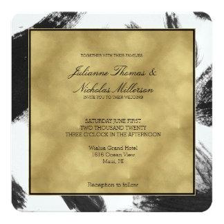 Boda blanco negro elegante del extracto de la invitación 13,3 cm x 13,3cm