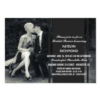 Boda blanco y negro de la foto pura de la invitación 12,7 x 17,8 cm