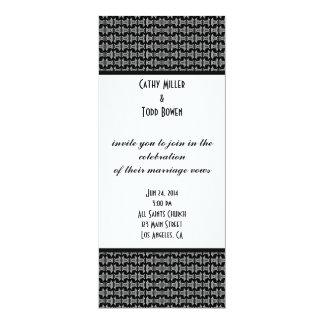 Boda blanco y negro del modelo moderno invitación 10,1 x 23,5 cm
