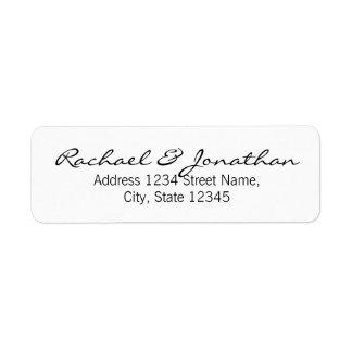 Boda blanco y negro elegante etiqueta de remite