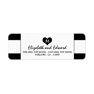 Boda blanco y negro elegante moderno etiqueta de remitente