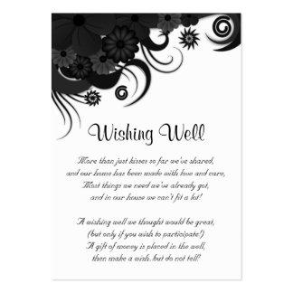 Boda blanco y negro floral que desea tarjetas bien tarjetas de visita grandes
