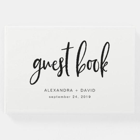 Boda blanco y negro minimalista moderno libro de visitas