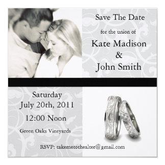"""Boda blanco y negro """"reserva la fecha """" invitación 13,3 cm x 13,3cm"""