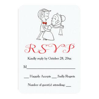 Boda blanco y negro rojo de la novia y del novio invitación 8,9 x 12,7 cm