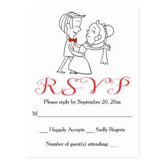 Boda blanco y negro rojo de la novia y del novio postal