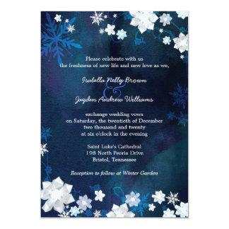 Boda bohemio del invierno de los azules marinos invitación 12,7 x 17,8 cm
