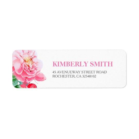 Boda botánico floral rosado de la floración etiquetas de remite