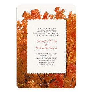 Boda brillante del otoño de las hojas invitación 12,7 x 17,8 cm