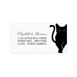 Boda caprichoso moderno del gato negro etiqueta de dirección