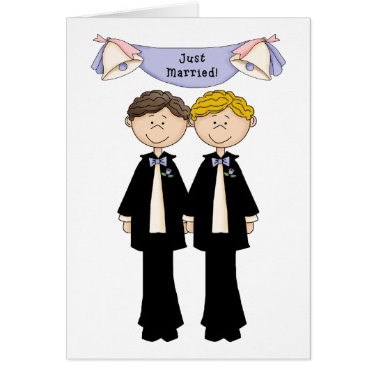 Boda casado gay adaptable del varón apenas tarjeta de felicitación