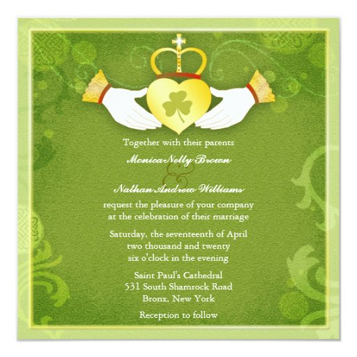 Boda céltico del verde del corazón de Claddagh del Invitación 13,3 Cm X 13,3cm