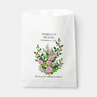 Boda color de rosa rosado bonito bolsa de papel