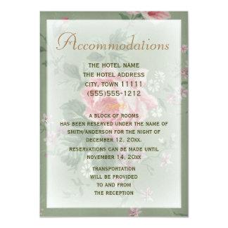 Boda color de rosa verde y rosado de la tarjeta de invitación 11,4 x 15,8 cm