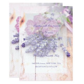 Boda color de rosa y de la lavanda salvaje del invitación 12,7 x 17,8 cm