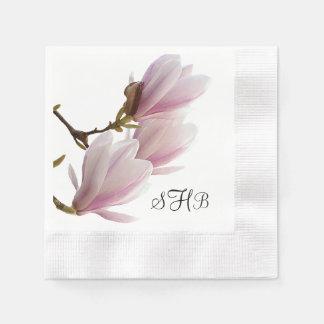 Boda con monograma de la magnolia rosada servilletas desechables