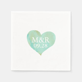 boda con monograma del corazón servilletas desechables