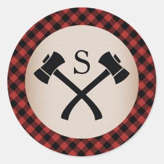 Boda con monograma del hacha de la tela escocesa pegatina redonda