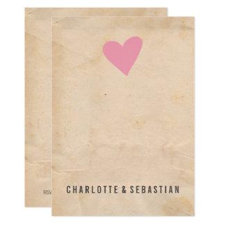 Boda contemporáneo simple moderno del corazón invitación 12,7 x 17,8 cm