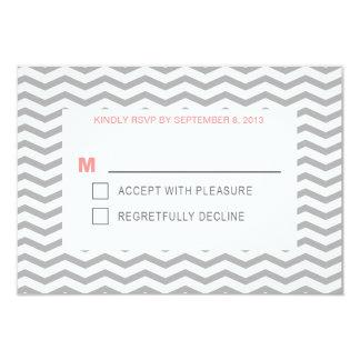Boda coralino y gris de la tipografía perfecta de invitación 8,9 x 12,7 cm