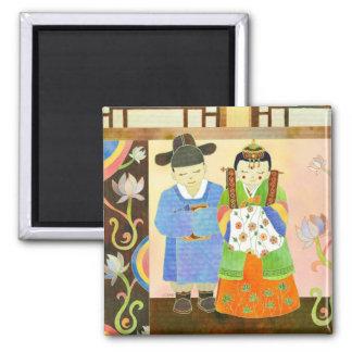 Boda coreano tradicional: Regalo de boda lindo Imán Cuadrado