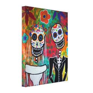 Boda Couple Dia de los Muertos Impresión En Tela