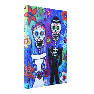 Boda Couple Dia de los Muertos Impresiones En Lona Estiradas