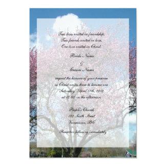 Boda cristiano, árbol floreciente de la cereza comunicado personalizado