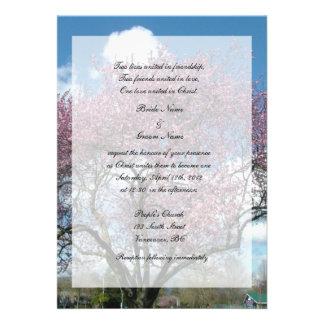 Boda cristiano árbol floreciente de la cereza comunicado personalizado
