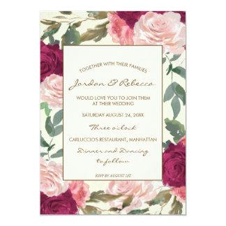 Boda de Borgoña o invitación de marfil floral de