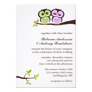 Boda de encargo de los búhos preciosos invitación 12,7 x 17,8 cm