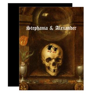 Boda de Halloween, gótico, cráneo, invitación de