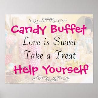 Boda de la comida fría del caramelo o muestra de póster
