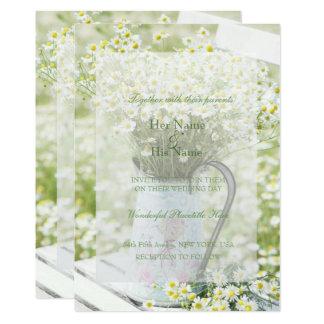 Boda de la flor de la manzanilla de las margaritas invitación 12,7 x 17,8 cm