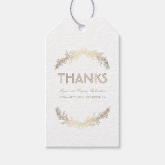 Boda de la guirnalda de las hojas del laurel del etiquetas para regalos