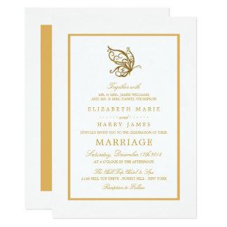 Boda de la mariposa del brillo del oro del vintage invitación 12,7 x 17,8 cm