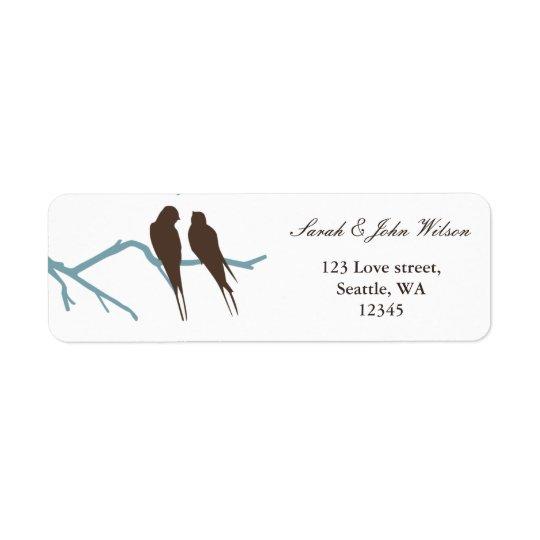 boda de la moca de los lovebirds, etiqueta del etiqueta de remite